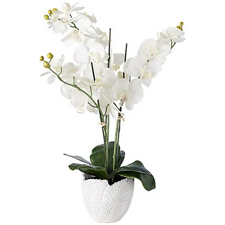 "White 26 1/2"" Wide Silk Orchids in Textured White Cement Pot"