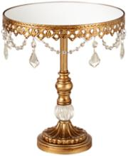 "Antique Gold Crystal 10"" Wide Medium Cake Stand"