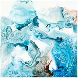 "Watery Abstract Blue Canvas 20"" Square Giclee Wall Art"