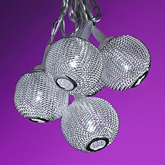 Silver Metal Mini Globes 10-Light LED String Party Lights