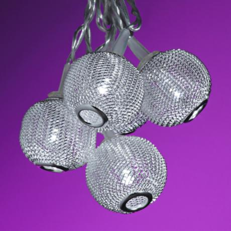 Metal Globe String Lights : Silver Metal Mini Globes 10-Light LED String Party Lights - #4N005 www.lampsplus.com