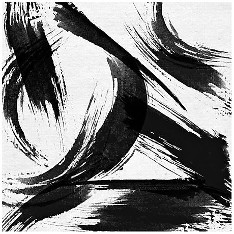 "Abstract Black White Strokes Canvas 20"" Square Wall Art"