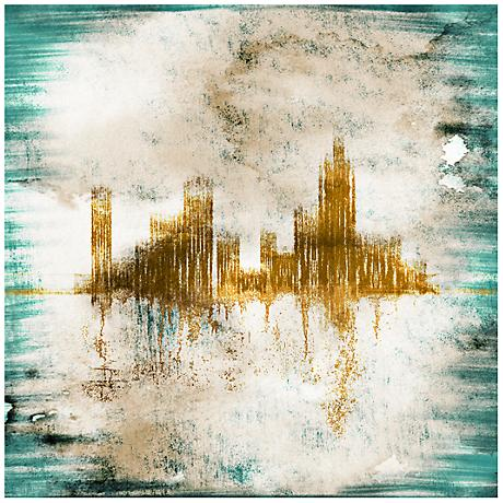 "Blue Gold Abstract City Canvas 20"" Square Giclee Wall Art"