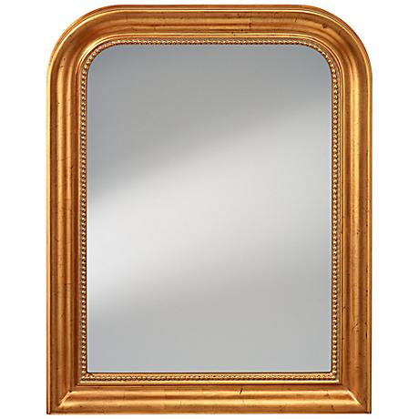 "Feiss Prince 30 1/4"" x 36 1/4"" Gold Leaf Wall Mirror"