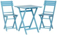 Set of 3 Monterey Sky Blue Square Wood Table and Chairs