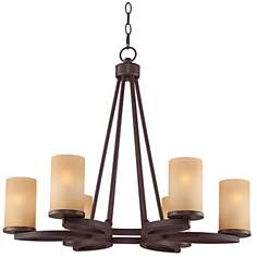 "Fairport 28"" Wide Bronze Chandelier"