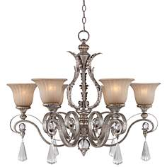 "Charlemagne 32"" Wide Amber Scavo Glass Chandelier"
