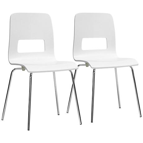Set of 2 Greta Modern White Dining Chairs