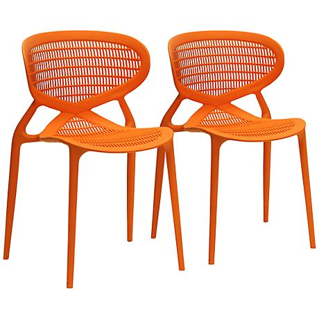 Set of 2 Neo Orange Plastic Modern Dining Chairs