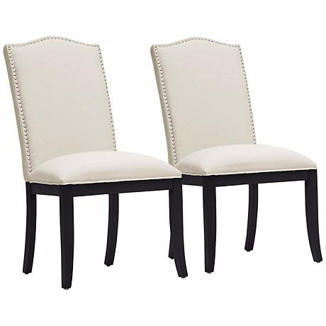 Set of 2 Tyndall Beige Linen Dining Chairs