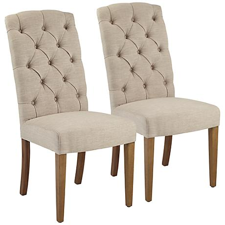 Lydia Natural Linen Dining Side Chair Set of 2