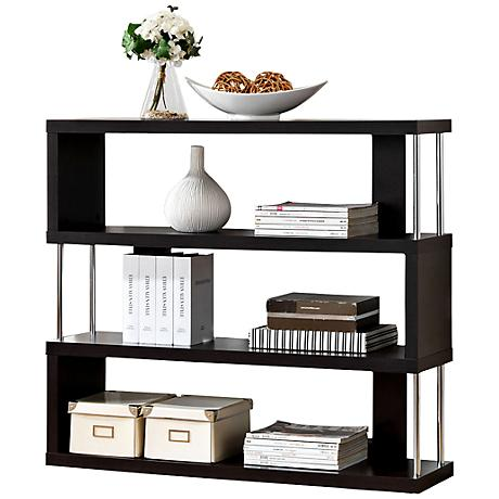 Barnes Dark Faux Wood 3-Shelf Bookcase