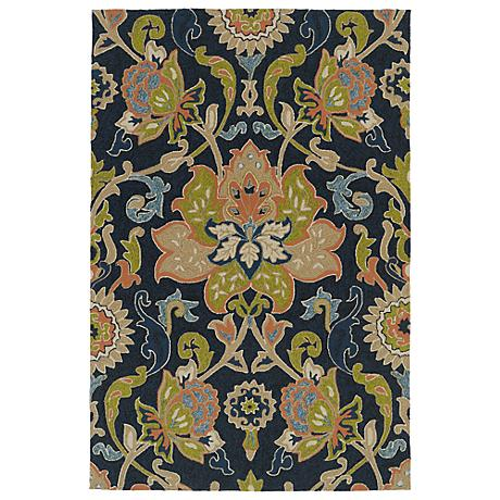 Kaleen Home & Porch 2042-22 Navy Floral Rug