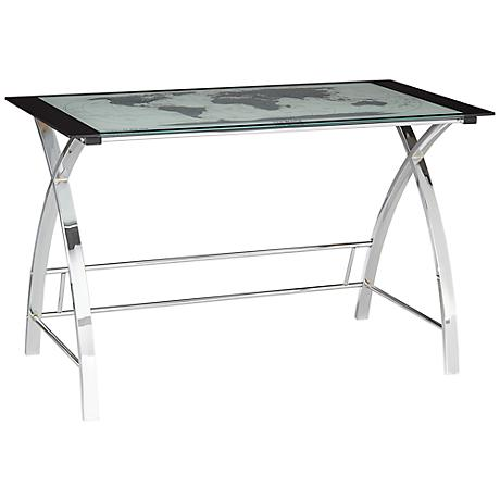 World Map Glass and Chrome Computer Office Table