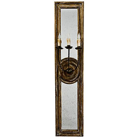 "Regina-Andrew Three Arm 40"" Small Mirrored Sconce"