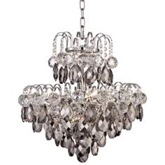 "Miura 18"" Wide Smoke Crystal Chandelier"