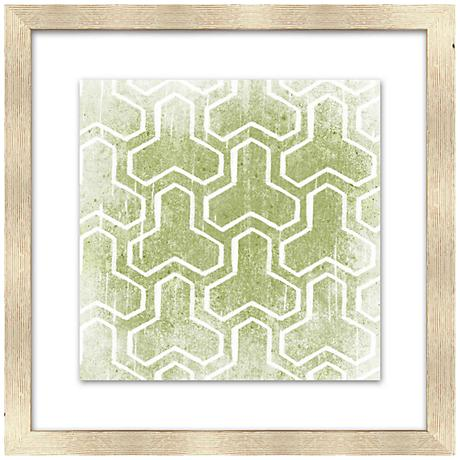 "Olive Green Patterns 18"" Square Giclee Framed Wall Art"