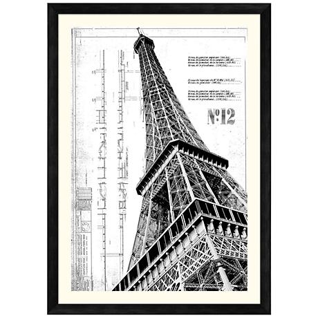 "Eiffel Tower 42 1/2"" High Giclee Framed Wall Art"