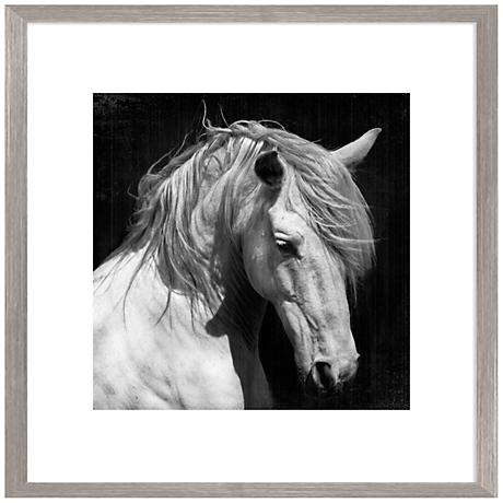 "White Horse Photo 26"" Square Giclee Framed Wall Art"
