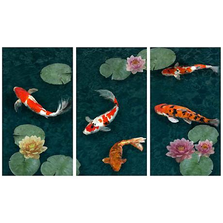 "Set of Three Koi Pond 40"" High Giclee Wall Art"