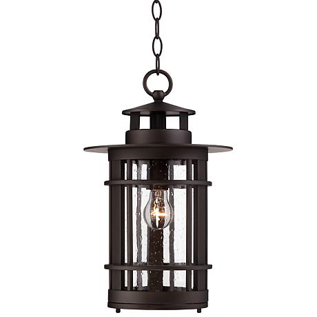 "Argentine 10 1/2"" Wide Seedy Glass Outdoor Hanging Light"