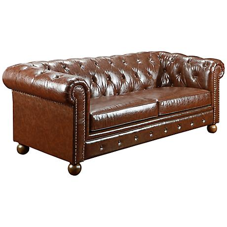 Winston1060 Mocha Bonded Leather Vintage Sofa