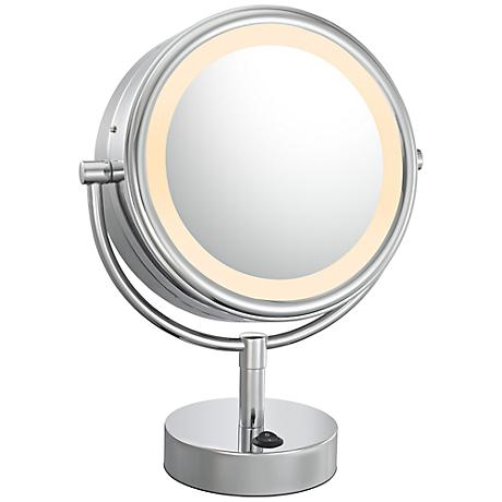 "Double Sided Chrome 9"" Wide LED Lighted Vanity Mirror"