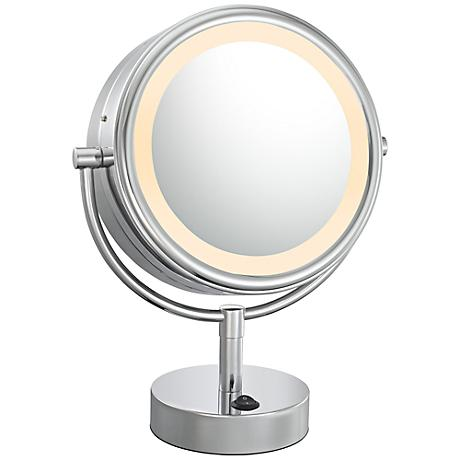 "Polished Nickel Double Sided 9"" Wide LED Vanity Mirror"