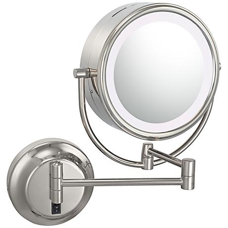 "Polished Nickel 9"" Wide LED Lighted Plug-In Vanity Mirror"