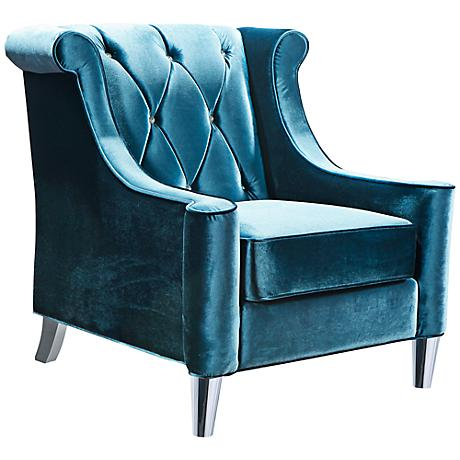 Barrister Crystal Blue Velvet Chair