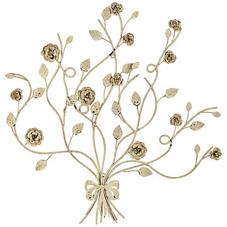 "Floral Bouquet 27 3/4"" High White Metal Wall Plaque"