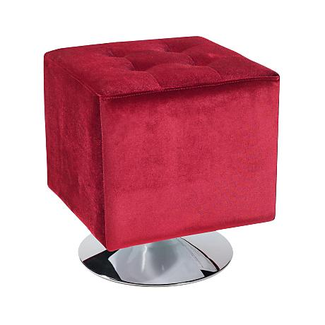 Pica Velvet Red Upholstered Tufted Square Ottoman