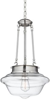 "Possini Euro Schoolhouse 13""W Brushed Steel Pendant (4V437) 4V437"