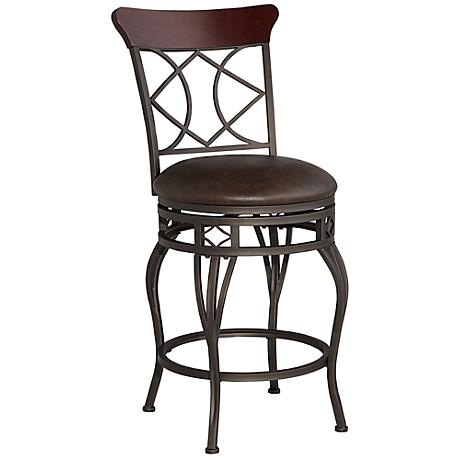 "Duncan 25"" Wood and Bronze Metal Swivel Counter Stool"