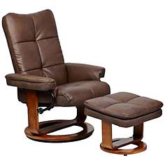 Mac Motion Sydney Chocolate Ottoman and Swivel Recliner