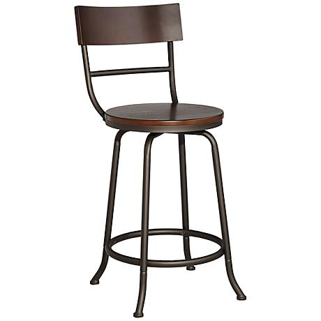"Langdon 24"" Wood and Bronze Metal Counter Stool"