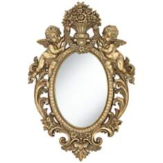 "Angelina Gold Cherub 19 3/4"" x 29 1/2"" Oval Wall Mirror"