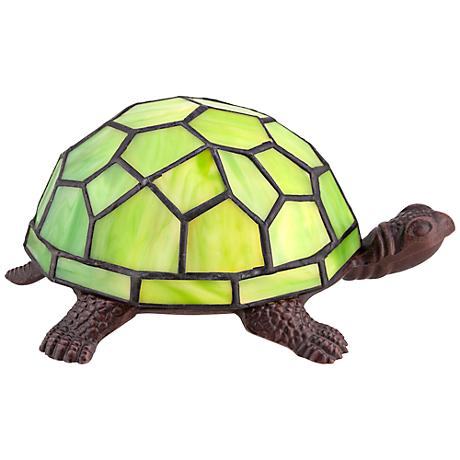 Green Tiffany Shell Turtle Accent LED Lamp