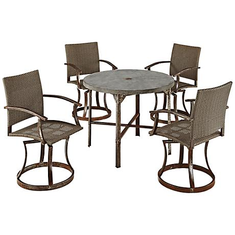 Urban 5-Piece Outdoor Swivel Chair Dining Set