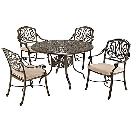 Floral Blossom Taupe Small 5-Piece Armchair Dining Set