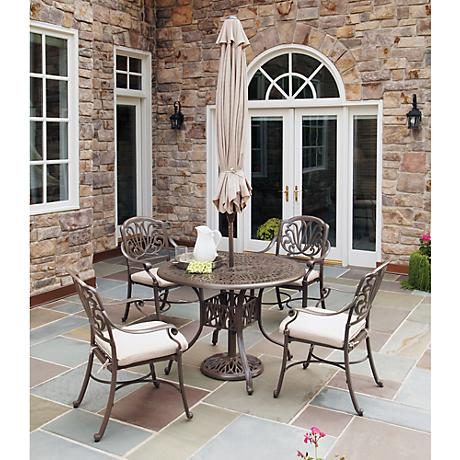 Floral Blossom Large 5-Pc Armchair Dining Set w/ Umbrella