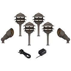 8-Piece Bronze Pagoda-Spotlight LED Landscape Light Set