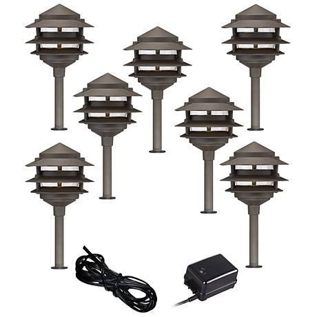 Pagoda 9-Piece Complete Outdoor LED Landscape Lighting Set
