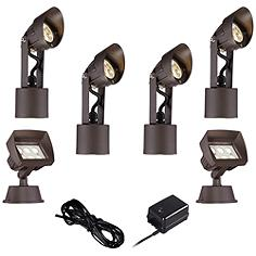 LED Spot and Flood Light Complete Landscape Kit in Bronze