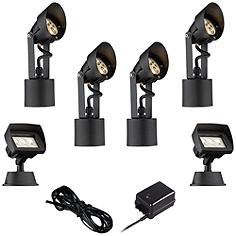 LED Spot and Flood Light Complete Landscape Kit in Black