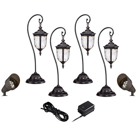 LED Bellagio Path and Spot Light Landscape Kit in Bronze