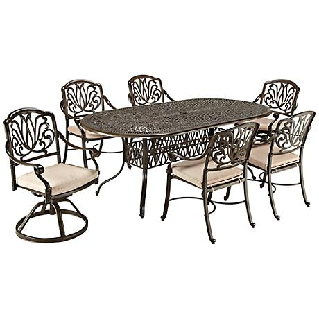 Floral Blossom Taupe 7-Piece Armchair Dining Set