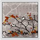 "Birds On Tree I 24"" Square Framed Canvas Wall Art"