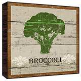 "Earthy Green Broccoli 12"" Square Rustic Wood Wall Art"