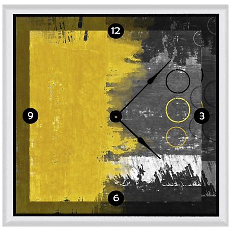 "Abstract Yellow And Gray 16"" Square Clock"